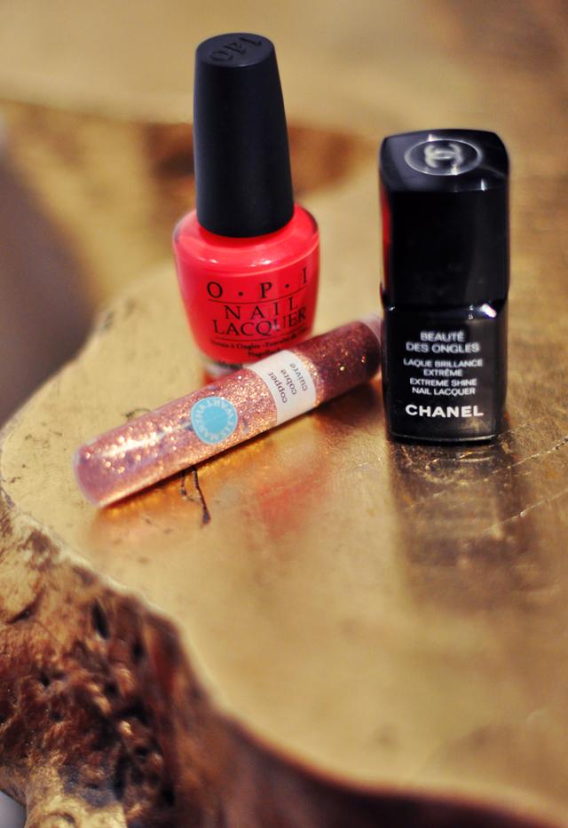 OPI Cajun Shrimp -Chanel Extreme Shine top coat-Martha Stewart glitter glue
