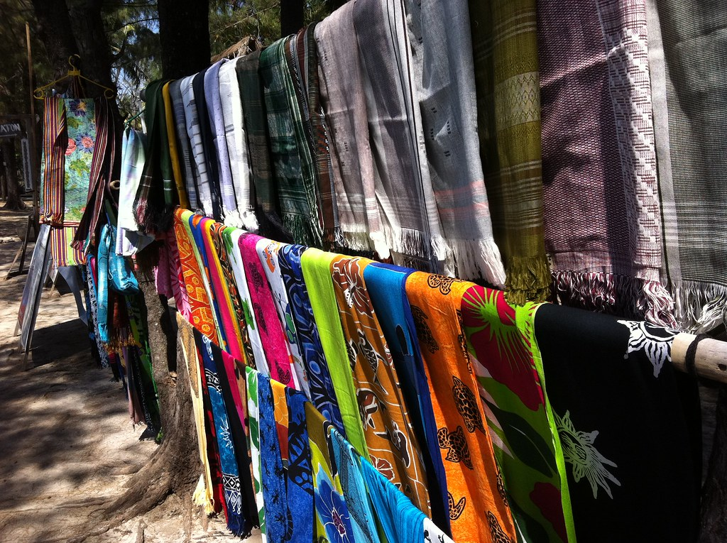 Sarongs for sale, Gili Meno, Lombok, Indonesia