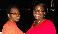 Having fun on the party cruise (sisterswholovefood) Tags: nyc cruise party night sisters