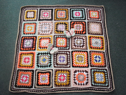 Each Square has been made by Jean Nock. The Blanket has been assembled and sent back to me for the Elderly In Nursing Homes.