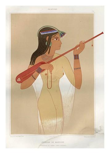 008-Tocadora de mandola-Necropolis de Tebas dinastia XVIII-Histoire de l'art égyptien 1878- Achille Constant Théodore Émile
