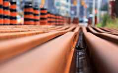 Tracks (St-Even) Tags: orange toronto black lines construction rust downtown dof pylons frontstreet urbanfragments streetcartracks torontokindalookslikethis
