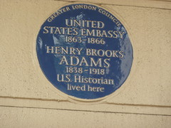 Photo of Henry Brooks Adams and United States Embassy in London blue plaque