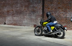 Biker (Jaume Pi) Tags: color brick green sports leather bike wall speed design moving cool movement driving ride move riding brickwall moto motorcycle biker motor speeds guzzi riign