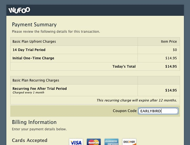 Chargify Coupon Feature on Payment Form