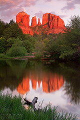 Cathedral Rocks Reflection (Willie Huang Photo) Tags: sunset red arizona nature landscape rocks cathedral scenic sedona redrocks cathedralrocks
