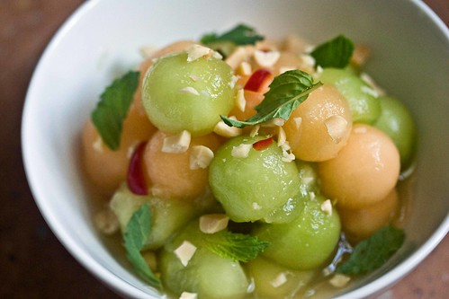 melon, chopped peanuts, chile, mint, fish sauce, lime juice