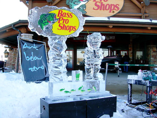 Bass Pro Shops Ice Fishing ice sculpture