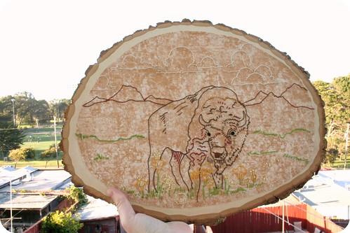Bison on Wood Plaque