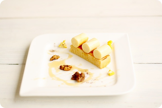 Corn Panna Cotta, Lemon Madeleine & Spiced Walnuts