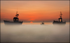 Dungeness at Dawn (adrians_art) Tags: mist fog sunrise coast shore fishingboats seawater