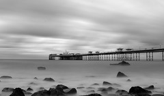 Llandudno Pier at Sunset in Black and White (Anthony Owen-Jones) Tags: ocean uk longexposure sunset sky blackandwhite bw cloud seascape bla