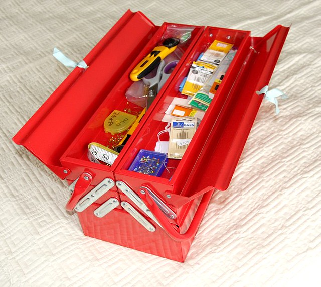Red metal sewing box