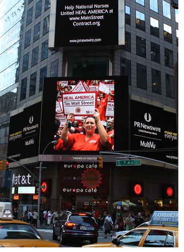 National Nurses United say TAX WALL STREET in Times Square - NYC August 2011