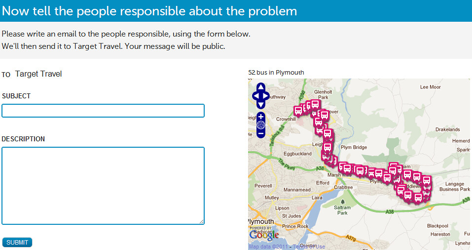 FixMyTransport  Reporting a problem  Number 52 bus route