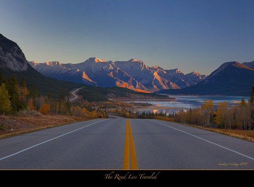 "The Road Less Traveled-Sunrise at Abraham Lake by Joalhi ""Away in Colombia"""