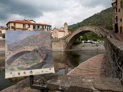 L'antico ponte sul Nervia (Silvio Arnello) Tags: liguria fiume quadro ponte chiesa antico claudemonet dolceacqua riproduzione rappresentazione nervia