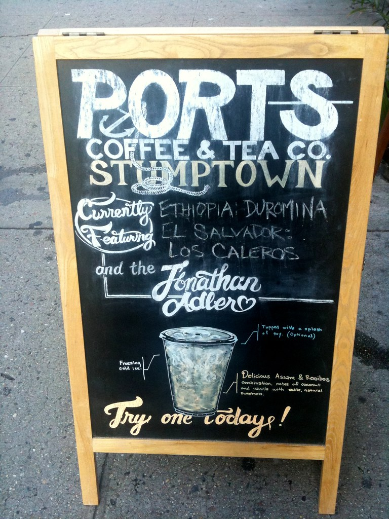 Slightly busy but still nice info design on this coffee blackboard sign