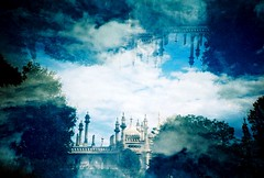 Kubla Khan (fotobes) Tags: blue sky clouds sussex lca xpro crossprocessed brighton upsidedown doubleexposure crossprocess dream blues multipleexposure crossprocessing dreams kublakhan brightonpavillion lomographychrome100 fotobes