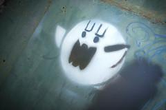 Ghostwriter (TerryJohnston) Tags: city urban streetart art wall mi graffiti stencil paint michigan tag urbanart fujifilm stencilart midland x100 urbanc amazingmich fujifilmx100