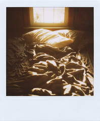 (jeffreywithtwof's) Tags: summer vacation sunlight slr film jeff window polaroid bed sheets pillows integral instant hutton rumpled unmade 779 680se jeffhutton jeffhuttonphotography jeffreyhutton