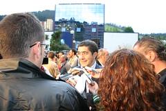 X. Aniversario del asesinato de Migue Angel Blanco. El Secretario General de Socialistas Vascos Patxi Lopez dedicando unas palabras.
