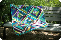 Bench (Inside The Paper Box) Tags: aqua purple quilt teal lime binding stipple stringquilt