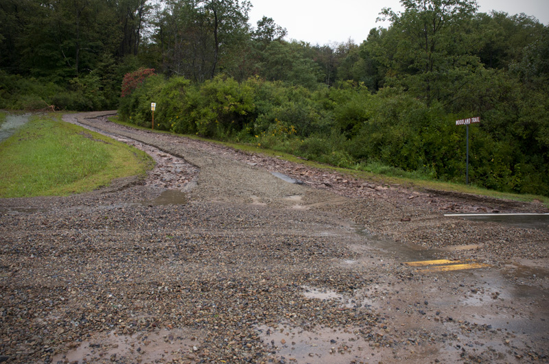 Many nonpaved roads, like Woodland Trail, were a complete washout.