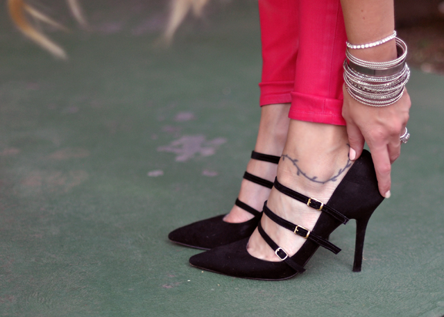 black suede pumps with straps