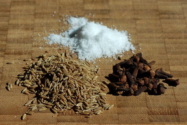 Cumin seeds, cloves and salt by Eve Fox, Garden of Eating blog, copyright 2011