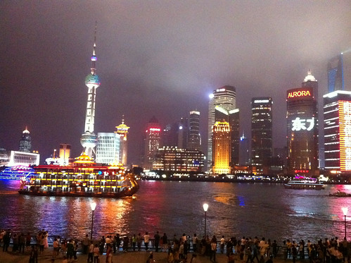 Spectacular evening skyline in Shanghai of the Pearl Tower