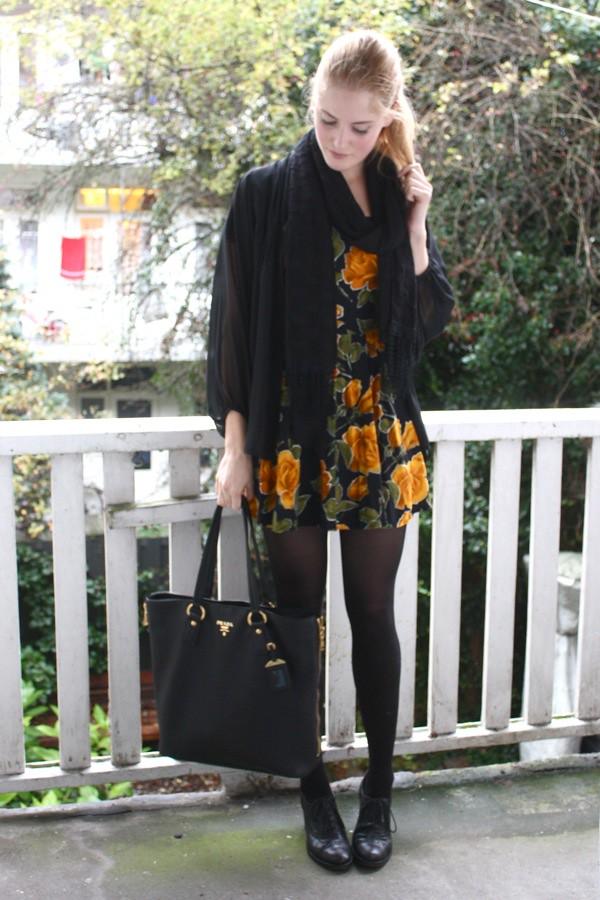 fashionfillers renee sturme vintage floral dress black cape