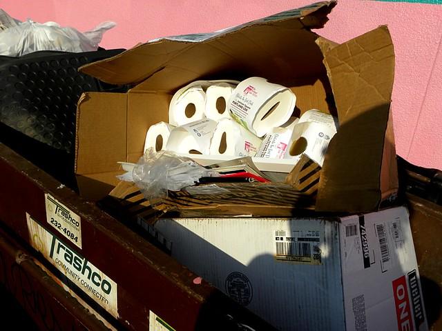 """Portland Loo"" dedication toilet paper in dumpster, 9/9/11"