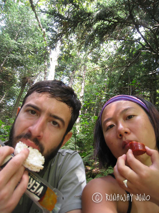 Hiking with Vermont pepperoni and rice cake.