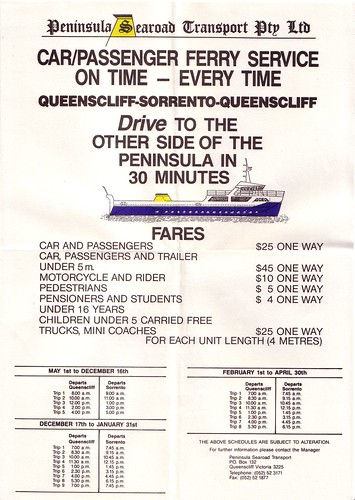 1987 timetable and fares for the Queenscliff - Sorrento ferry