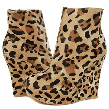 Wedge Heel Ankle Boots LEOPARD