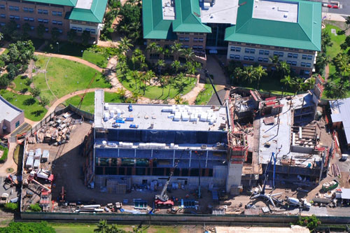 aerial shot of building construction