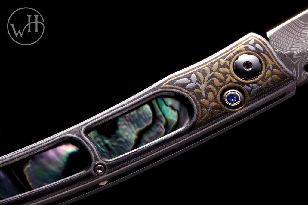 The B06 Caledonia Folding Knife - Gold & Silver Koftgari, Abalone inlay and Sapphire