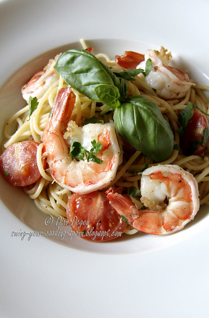 Spaghetti with shrimps 1/2