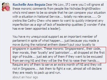 Rachelle's post on MP Penny Low's Facebook page