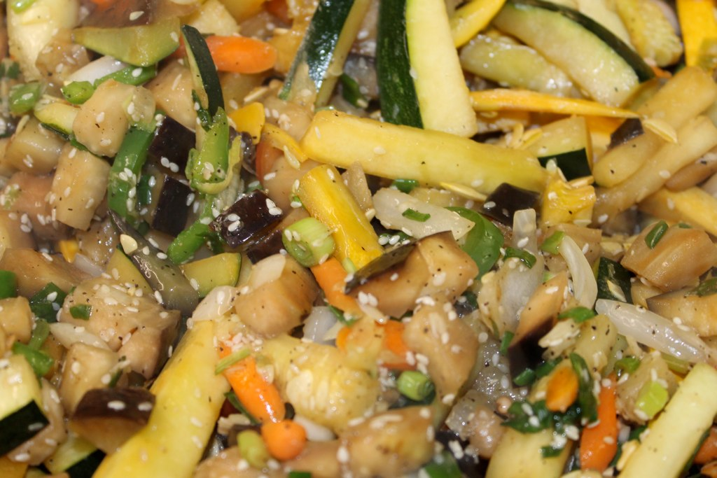 Stir Fry Vegetables and Brown Fried Rice