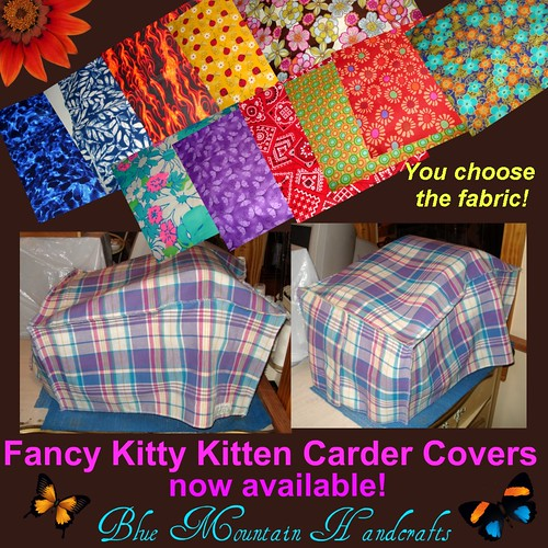 Fancy Kitty Kitten carder covers by bluemtnhandcrafts