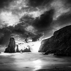 Last Light {EXPLORED FP} ( David.Keochkerian ) Tags: light sunset sea bw seascape france rock mood bretagne nb morbihan rocher belleileenmer