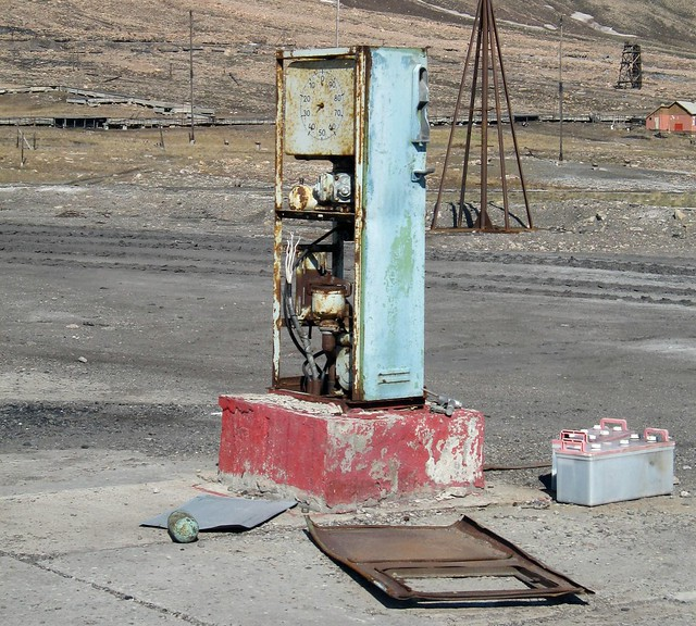An abandoned petrol pump at Pyramiden, an Arctic ghost town on Spitsbergen in the Svalbard Archipelago, Norway.
