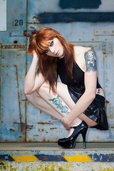 Bunny_Lynn_49954 (ScottRKline) Tags: anime tattoo blueeyes piercing redhead heels bluewall loadingdock blackskirt