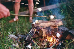 (abby martell) Tags: camping camp color film analog 35mm canon fire ae1 smoke marshmellow marshmellows roasting