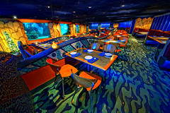 Disney Dining Under the Sea (Explored) (Express Monorail) Tags: travel blue vacation usa water america aquarium restaurant interestingness orlando epcot nikon colorful aqua florida availablelight teal interior empty vivid disney theme dining caribbean orangecounty wdw waltdisneyworld kissimmee hdr highdynamicrange themepark d300 uwa futureworld lakebuenavista ultrawideangle baylake flickrexplore reedycreek explored disneypictures coralreefrestaurant disneyparks expressmonorail disneyphotos thelivingseaswithnemoandfriends joepenniston disneyphotography disneyimages sigma816mm