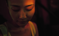 Ren Xiaofei 3 (Jonathan Kos-Read) Tags: china portrait beautiful closeup bar night dark crossprocessed chinese beijing shy tanktop romantic intimate eyesclosed subdued femaleportrait greentint savedbydeletemeuncensored chineseportrait hotasiangirl hotchinesegirl strongeyebrows asianportrait shyasiangirl shychinesegirl