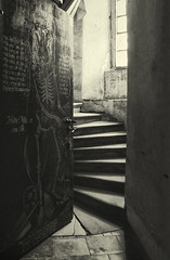 memento mori * revised repost * (sole) Tags: lighting door old light urban blackandwhite church mystery sepia architecture stairs dark painting skeleton photography europe fotografie zwartwit interior eerie doorway mysterious czechrepublic sole carmengonzalez kuks apotropaico