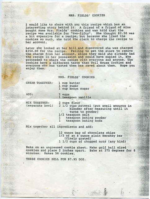 mrs fields cookies recipe chain letter, 1987